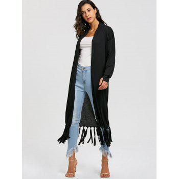 Cardigan Long à Franges - Noir L