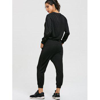 Raglan Sleeve Sweatshirt with Drawstring Jogger Pants Suit - BLACK BLACK