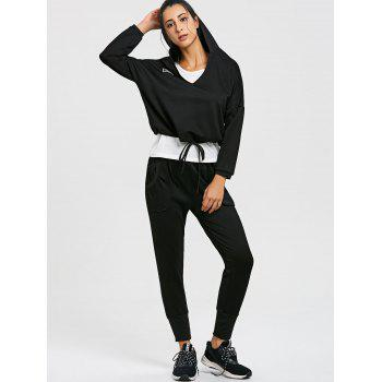 Drop Shoulder Hoodie Racerback Tank and Jogger Pants Suit - BLACK L