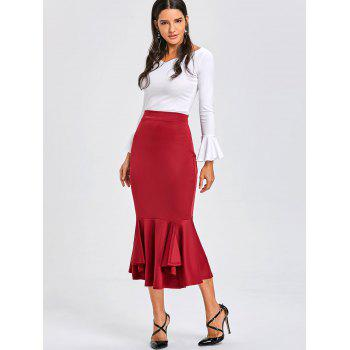 Bodycon Mermaid Midi Jupe - Bourgogne M