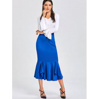 Bodycon Mermaid Midi Jupe - Bleu L
