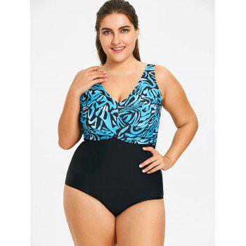Print Plus Size Twist Tank One Piece Swimwear - BLUE/BLACK 5XL