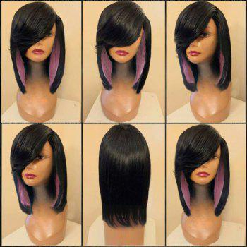 Medium Side Parting Colormix Straight Feathered Synthetic Wig - BLACK AND PINK BLACK/PINK