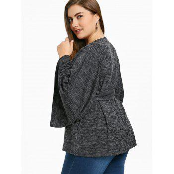 Plus Size Cut Out Wide Sleeve Top - BLACK XL