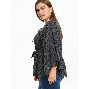 Plus Size Cut Out Wide Sleeve Top - BLACK 2XL