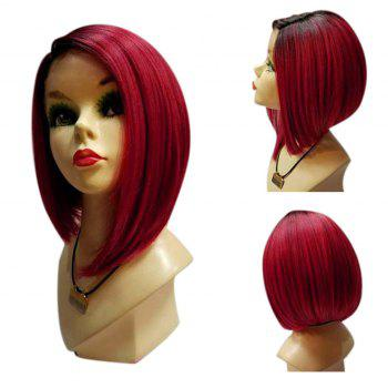 Medium Side Parting Straight Ombre Bob Synthetic Wig - BLACK&RED BLACK/RED