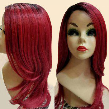 Long Side Parting Slighty Curly Ombre Synthetic Wig - RED WITH BLACK RED/BLACK