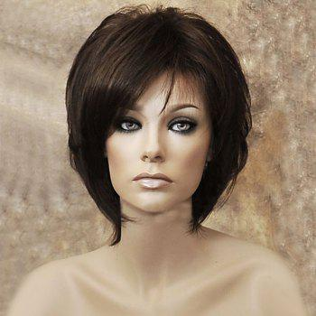 Medium Inclined Bang Capless Straight Synthetic Wig - LIGHT BROWN LIGHT BROWN