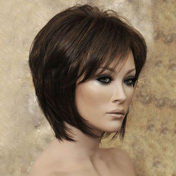 Medium Inclined Bang Capless Straight Synthetic Wig - LIGHT BROWN