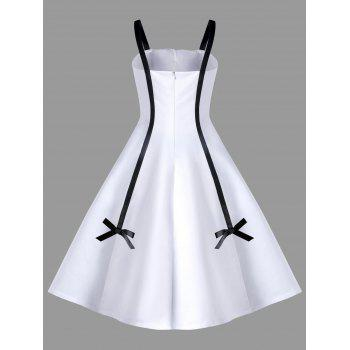 Two Tone Bowknot Embellished Swing Dress - WHITE WHITE