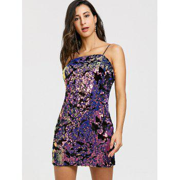 Mini Sequined Spaghetti Strap Dress - COLORMIX COLORMIX