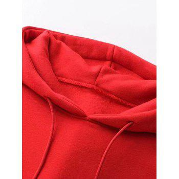 Oversized Drawstring Hoodie - RED S