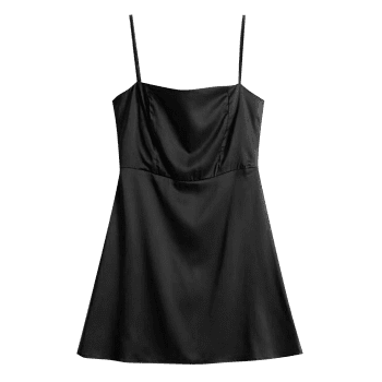 Satin Back Zip Slip Mini Dress - BLACK L