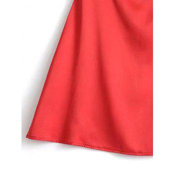 Satin Back Zip Slip Mini Dress - RED RED