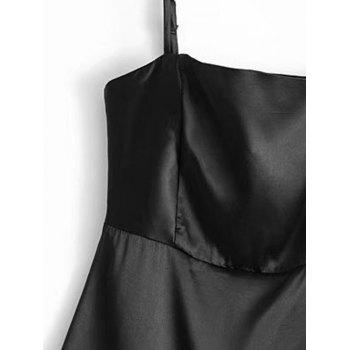 Satin Back Zip Slip Mini Dress - BLACK M