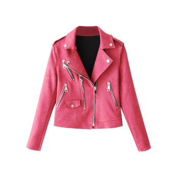 Faux Suede Zip Up Motorcycle Jacket - ROSE RED M