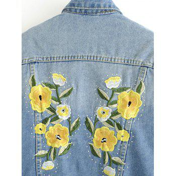 Floral Embroidered Back Denim Jacket - DENIM BLUE M