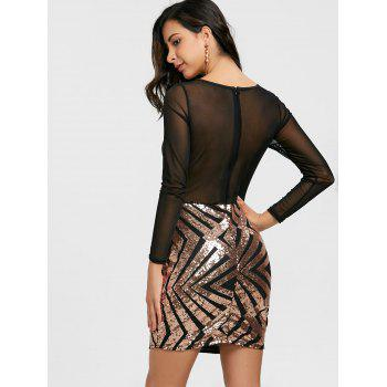 Sheer Mesh Insert Sequin Dress - ROSE GOLD S