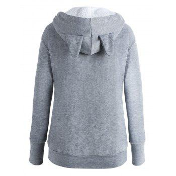 Plus Size Cat Kangaroo Pouch Pocket Hoodie - GRAY 2XL