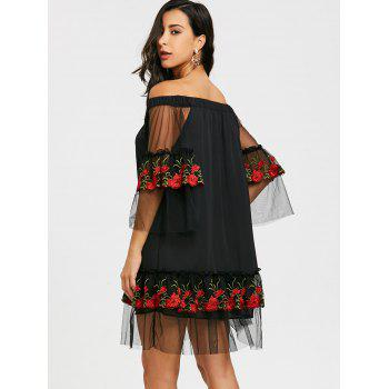 Embroidery Bell Sleeve Drop Waist Dress - BLACK XL
