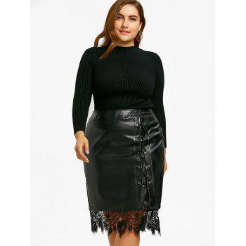 Plus Size PU Lace Trim Lace-up Skirt - BLACK 3XL