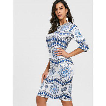 Porcelain Print Bodycon Midi Dress - BLUE/WHITE M