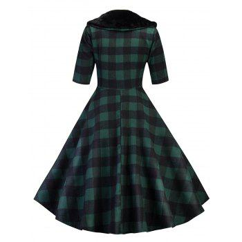 Vintage Plaid Fit and Flare Swing Dress - GREEN 2XL