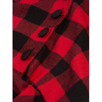 Vintage Plaid Fit and Flare Swing Dress - RED S