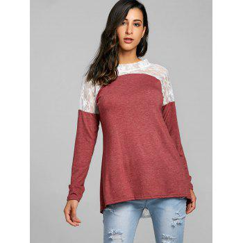 Sheer Lace Insert Tunic T-shirt - WINE RED 2XL