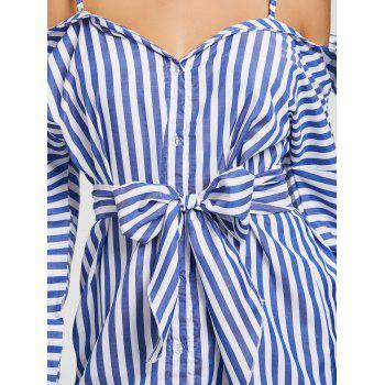 Button Up Striped Spaghetti Strap Dress - BLUE BLUE