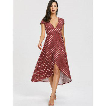 Slit Wrap Polka Dot Dress - DARK AUBURN DARK AUBURN