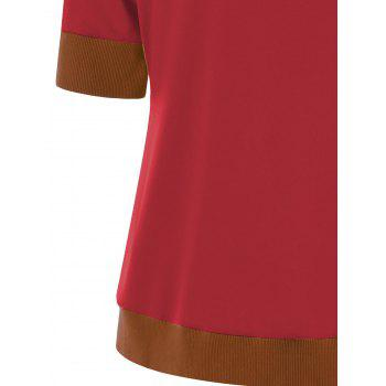 T-shirt de tunique de bouton de sonnerie - Rouge L