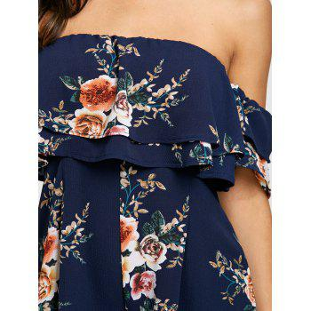 Flounce Off The Shoulder Floral Print Romper - PURPLISH BLUE M