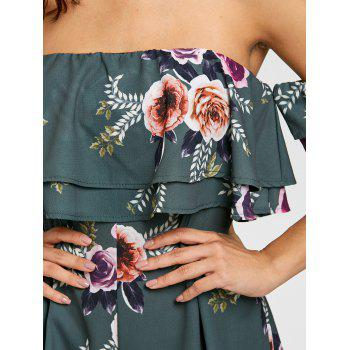 Flounce Off The Shoulder Floral Print Romper - GREEN GREEN