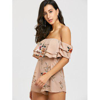 Off Shoulder Floral Printed Romper - KHAKI XL