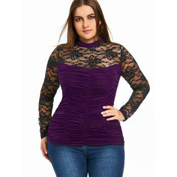Plus Size Sheer Mock Neck Smocked Top - PURPLE 5XL