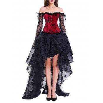 High Low Two Piece Corset Dress - RED/BLACK S