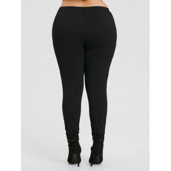 Ripped Rose Printed Plus Size Workout Leggings - BLACK 5XL