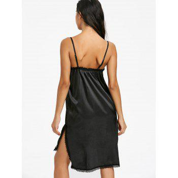 Side Slit Lace Trim Slip Babydoll - BLACK M