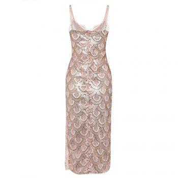 Sexy V Neck Backless Spaghetti Sparkly Glitter Sequins Dress Party Club Wearing - PINK L
