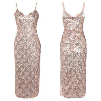 Sexy V Neck Backless Spaghetti Sparkly Glitter Sequins Dress Party Club Wearing - PINK XL