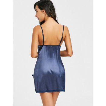 Lingerie Lace Insert Slit Cami Dress - PURPLISH BLUE 2XL