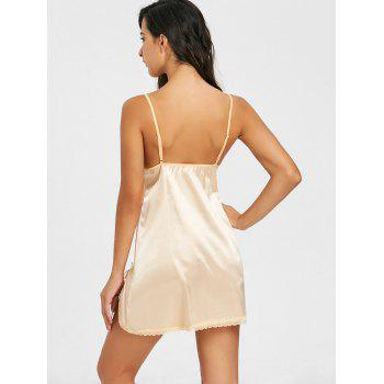 Lingerie Lace Insert Slit Cami Dress - LIGHT BEIGE XL