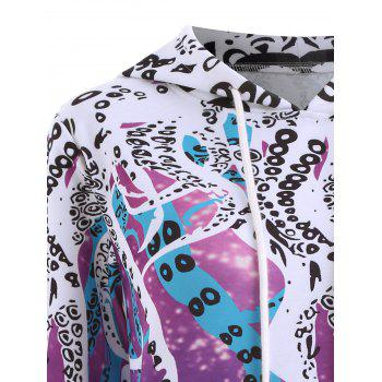 Plus Size Octopus Galaxy Print Hoodie with Pocket - PURPLE XL