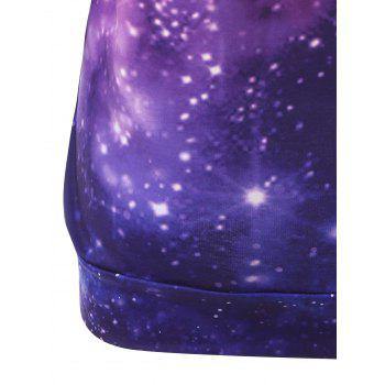 Plus Size Octopus Galaxy Print Hoodie with Pocket - PURPLE 5XL
