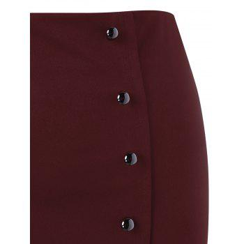Plus Size Button Up Lace Trim Midi Skirt - WINE RED XL