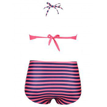 Plus Size High Waist Striped Bikini Set - STRIPE 3XL