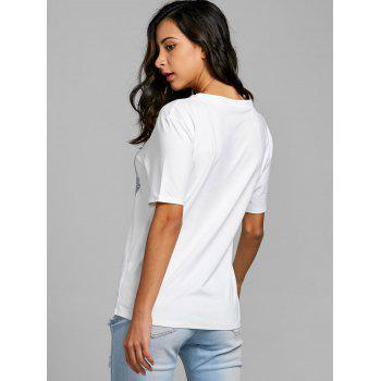 Bra Print Short Sleeve T-shirt - WHITE M