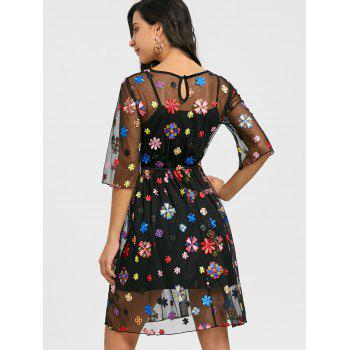 See Thru Embroidery Floral Dress and Cami Dress - BLACK M