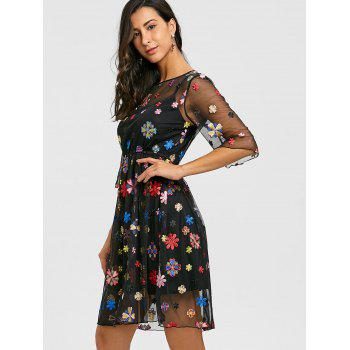 Voir Thru broderie Floral Dress et Cami Dress - Noir 2XL
